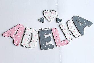 Tabuľky - ADELKA 8 cm písmenká pre dievčatko - 9214821_