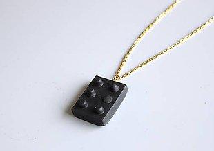 Náhrdelníky - Betónový náhrdelník stavebnica black - 9213876_