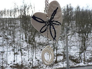 Náhrdelníky - Keramika, Srdcovka Porcelánka - 9213249_