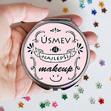 Zrkadielka - Motivačné zrkadielko (Úsmev je najlepší makeup) - 9212283_