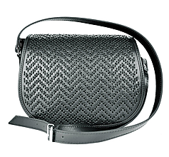 Kabelky - Ručne vyšívaná lovecká kabelka z pravej kože-čierne vyšívanie - 9214071_