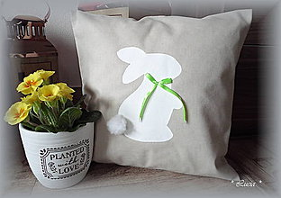 Úžitkový textil - Veľkonočný zajko obliečka na vankúš - 9214390_