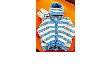 Detské súpravy - Chlapčenská pletená súpravička - 9214162_