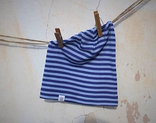 Detská celoročná merino čiapka modrý šmolko
