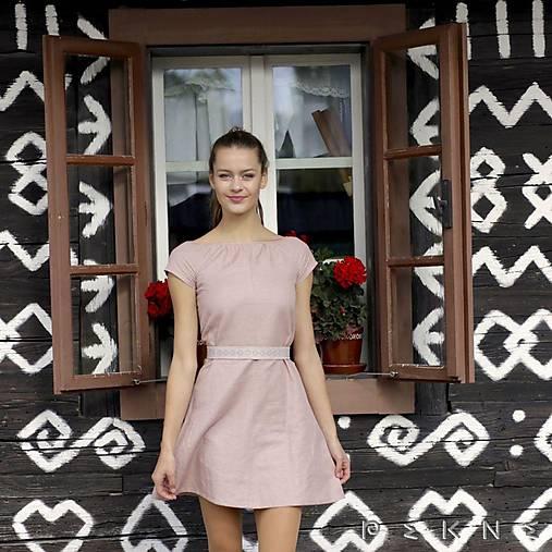Šaty - Ľanové šaty s vyšívaným opaskom (Staroružová / svetlý opasok (dopredaj - iba veľ. 34 a 38)) - 9213409_