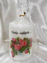 Svietidlá a sviečky - Ručne zdobená sviečka ,,Všetko najlepšie,, 70/100 - 9211018_