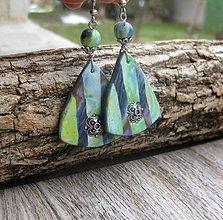 Náušnice - Zeleno modré orient trojuholníčky č. 1811 - 9212545_
