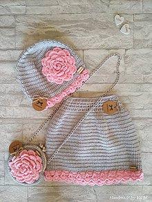 Detské súpravy - Čiapočka so sukničkou a kabelkou - 9213061_