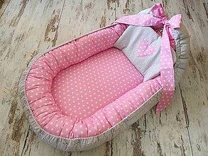 Textil - Hniezdo pre bábätko ružové hviezdičky a sivý chevron - 9211656_