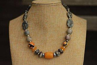 Náhrdelníky - Náhrdelník z minerálu jaspis, jadeit, achát - 9210707_