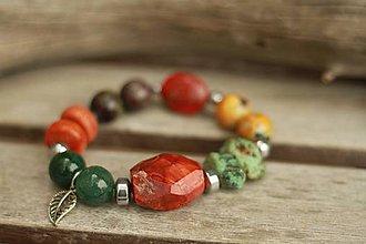 Náramky - Boho náramok z minerálov achát, tyrkys, čaroit, korál - 9211651_