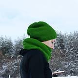 Čiapky - Zelený set ... čiapka + nákrčník - 9218530_