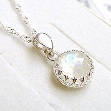 Náhrdelníky - Natural Faceted Moonstone Necklace / Strieborný náhrdelník s brúseným mesačným kameňom /0376 - 9216208_