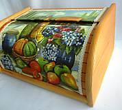Nádoby - Drevený chlebník-zátišie s ovocím - 9219278_