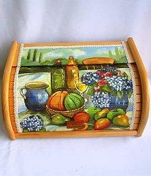 Nádoby - Drevený chlebník-zátišie s ovocím - 9219277_