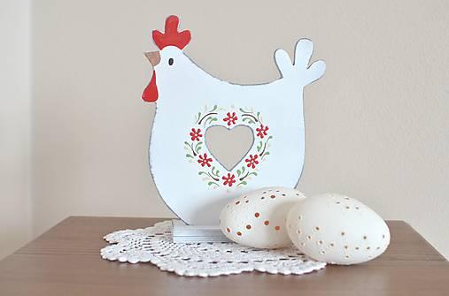 Dekorácie - Maľovaná sliepočka biela - 9219456_