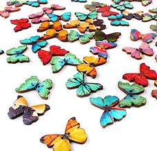 Galantéria - Drevené motýliky - mix 10 ks - 9215537_