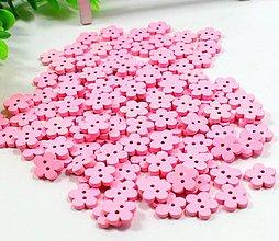 Galantéria - Gombíky: Ružové kvietky - 1 ks - 9217206_