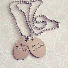 Náhrdelníky - náhrdelník duo s vlastným textom - 9217852_
