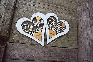 Dekorácie - svadobné srdiečka s dátumom - 9218030_