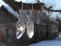 Náušnice - earrings le ametysté,cristalla and snow - 9216168_