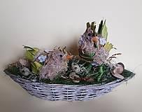 prírodná dekorácia sliepočka s kohútikom-ZĽAVA