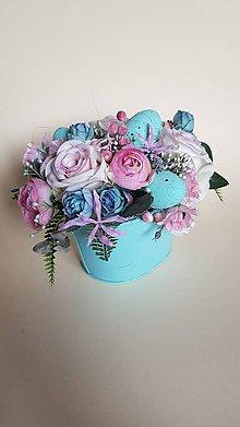 Dekorácie - veľkonočná ikebana mint s ružovou - 9217374_