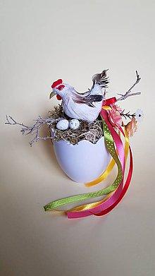 Dekorácie - veľkonočná dekorácia sliepočka v škrupinke - 9217826_