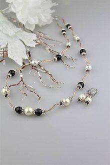 Sady šperkov - granát a perly náhrdelník , náušnice - luxusný set - 9217531_