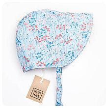 Detské čiapky - Čepiec Kvety_modrý - 9219186_