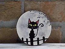 Drevená podložka pod pohár - Black cat