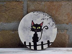 Pomôcky - Drevená podložka pod pohár - Black cat - 9219378_