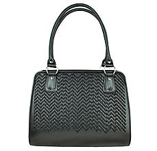 Kabelky - Ručne vyšívaná pracovná kabelka z pravej kože v čiernej farbe-čierne vyšívanie - 9218256_