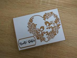 Papiernictvo - Svadobná pohľadnica - Zaľúbené vtáčiky - 9217655_