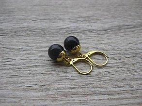Náušnice - Perly visiace, zlatý kov (čierne visiace, zlatý kov, č. 1821) - 9217498_