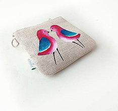 Kľúčenky - Maľovaná kľúčenka Ružové vtáčiky - 9217533_