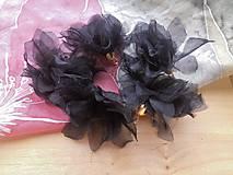 - Textilné kvety - pár (viac druhov) (Čierne organzové kvety) - 9215859_