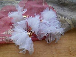 Polotovary - Textilné kvety - pár (viac druhov) (Biele organzové kvety) - 9215836_