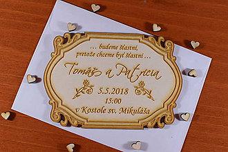 Papiernictvo - Svadobné oznámenie drevené gravírované 3 - 9216309_