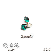 Korálky - SWAROVSKI® ELEMENTS 1088 Xirius Chaton - Emerald, SS29, bal.1ks - 9219512_