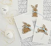 Papiernictvo - 3 pozdravy - veľkonočné zajačiky s modrou mašľou - 9221552_