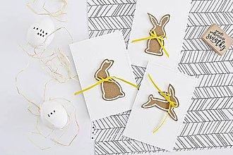Papiernictvo - 3 pozdravy - veľkonočné zajačiky so žltou mašľou - 9221516_
