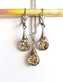 Sady šperkov - Zlatá třpytivá sada z chirurgické oceli - 9220484_