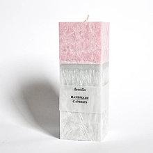 Svietidlá a sviečky - Ružová-sivá sviečka - kváder - 9223103_