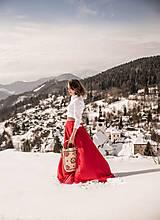 - Červená vyšívaná sukňa - 9219947_