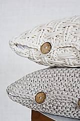 Úžitkový textil - Pletený vankúš - prírodný - 9219861_