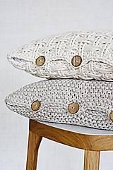 Úžitkový textil - Pletený vankúš - prírodný - 9219862_