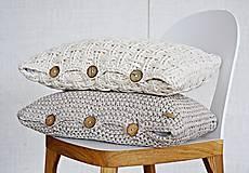 Úžitkový textil - Pletený vankúš - prírodný - 9219863_