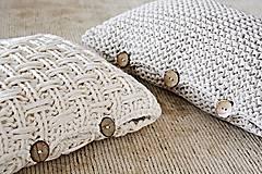 Úžitkový textil - Pletený vankúš - prírodný - 9219864_