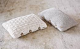 Úžitkový textil - Pletený vankúš - prírodný - 9219866_